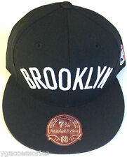 NBA Brooklyn Nets Mitchell and Ness All Black Fitted Cap Hat M&N