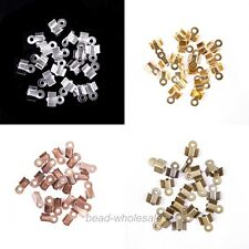 New 200Pcs Fold Over End Cord Findings Crimp End Beads 6x3mm For Jewelry