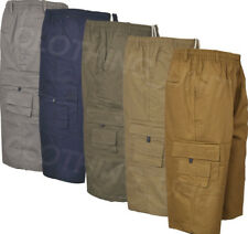 S32 Mens 3/4 Elasticated Waist Long Shorts Cargo Combat 100% cotton Zip Fly