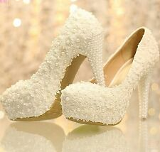 New Elegant Lace Womem's Wedding Bridal Shoes Prom Party Heels Shoes with Pearls