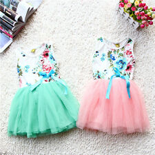 Girls Baby Toddler Princess Flowers Floral Bow One-piece Tutu Dresses Skirt
