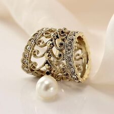 Fashion Scarf Jewelry Floral Heart Pearl Crystal Scarf Slide Tube Rings