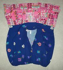 XHILARATION NWT XL L blue pink floral sundress button front sleeveless variation