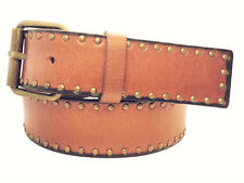 Snap On Oil Tanned Antique Circle Metal Studded Premium Genuine Leather Belt