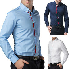 New Fashion Mens Luxury Long Sleeve Casual Slim Fit Stylish Dress Shirts 3-Color