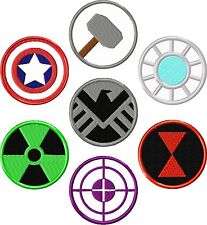 Avengers Patch Set Iron Man/Thor/Captain America/Black Widow/Hulk/Shield/Hawkeye