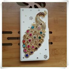 white colorful diamond beauty peacock flip PU leather case cover for SONY Xperia