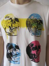 New GUESS Mens Beige Graphic Printed S/S Basic Crew Pop Art Skull Tee Shirt $29