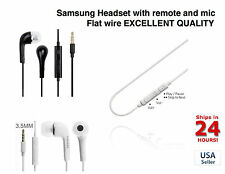 2X Samsung s3 s4 Note 1 2 3 s5 remote and mic FLAT WIRE OEM headset earphones !!