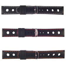 Rally Watch Strap Racing Black Silicone 20mm Band White, Red, Orange Stitching