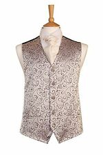 MENS AND PAGE BOYS IMPERIAL SILVER SWIRL WEDDING DRESS SUIT VINTAGE WAISTCOAT