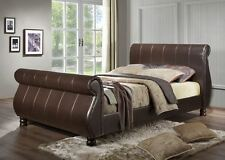 Happy Beds Marseille Contemporary Leather Bed Brown Home Bedroom Furniture New