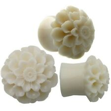 BDJ0093 Flared Cream Dahlia Resin Flower Organic Ear Plugs Ear Tunnels