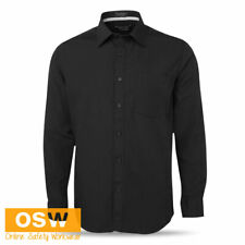 MENS BLACK CONTRAST PLACKET LONG SLEEVE WORK/OFFICE/BAR/HOTEL/RESTAURANT SHIRT