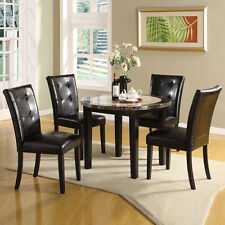 MARBLE Like 5 PC Black Leatherette Chair Counter Height Round Dinette Dining Set
