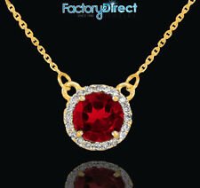14k Gold Diamond Red Ruby Necklace