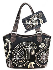 Rhinestones and Stitch Accented Western Style Handbag Set EA-8005