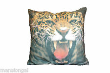 ANGRY LEOPARD  !!! AWESOME ANIMAL PRINT FAUX SUEDE CUSHION COVERS -