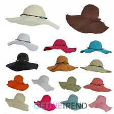 Womens Crushable Foldable Beaded Bucket Sun Summer Derby Hat Wide Brim Hat
