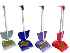 Large Long Handled Lidded Dustpan and Brush Automatic Lid & Metal Poles Sweeper