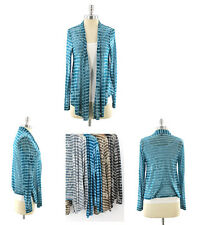 Womens Long Sleeve Burnout Striped Cardigan Open Front Light Detailed