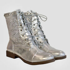 New Victorian wedding Lace Womens ankle boots fancy dress Size 4 gold,Silver