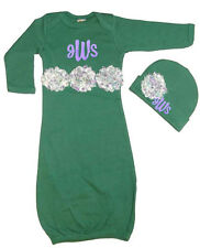 Personalized Infant Gown & Hat Set Green w/Vintage Inspired Shabby Chic Flower