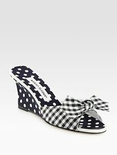 2013 MANOLO BLAHNIK LISS GINGHAM NAVY POLKA DOT BOW SEXY WEDGES SLIDES EU 38.5