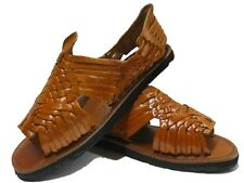 Genuine leather brown huaraches mexican sandals flip flop shoes slip mens tire