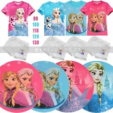 Colorful Frozen 2 Pieces Set Baby Girls Short Sleeve Tops & Pants 1-5 Years old