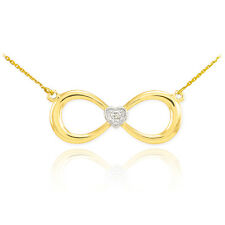 14K Yellow Gold Fashion Dainty Infinity Sign Diamond Studded Heart Necklace