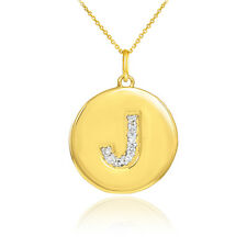 "10k Yellow Gold Letter ""J"" Initial Diamond Disc Charm Pendant Necklace"
