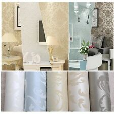 10M Embossed Metallic Damask Feature Flocked Non-woven Wallpaper Roll Bedroom