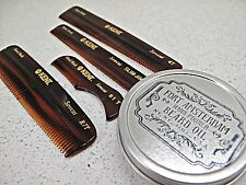 2-Pack Beard Wax Oil and KENT Comb Grooming FORT AMSTERDAM All Handmade