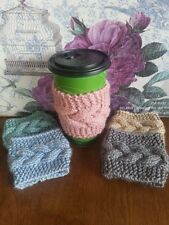 Cable Knitted Coffee Cozy - Cup warmer - coffee cozy -mug warmer many colors