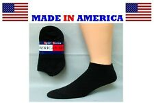 Big & Tall Men's Extra Large Solid Black No Show Sock Size 13-15 Made in USA