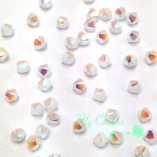 White Alabaster AB 2x (281 AB2X) Swarovski 5328 / 5301 4mm Crystal Bicone Beads