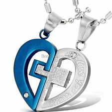 Couple Stainless Steel Cross Heart LOVE YOU REALLY Pendant Necklace for Lovers