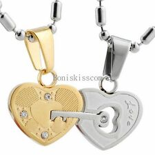 "Stainless Steel  ""Love"" Key Lock Heart Pendant Couples Necklace Set for Lovers"