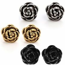 Charm Rose Flower Shape Stainless Steel Stud Earrings Bead Ball Screw Back