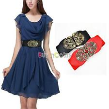 Women Slim Vintage Flower Elastic Stretch Buckle Wide Waistband Waist Belt
