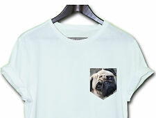 PUG DOGS ANIMALS HIPSTER INDIE SWAG FUNNY T SHIRT TOP CLOTHING MEN WOMEN