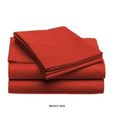 LUXURIOUS SOFT & LIGHT SOLID COLOR BED SHEET SET, KING QUEEN FULL TWIN, RED