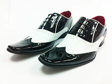 Mens Brogue Spat Wedding Dress Jazz Praty Lace up Patent Shiny Shoes C1 B/W