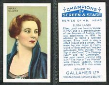 Gallaher 'Ltd' - Champions of Screen & Stage 1934 #1-#48 Movie Cigarette Cards