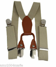 "Toddler Khaki / Beige 1"" Wide Suspenders Fits Ages 2 - 5 Years - 2T 3T 4T"