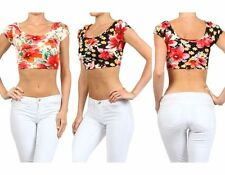 Low Back Cropped Tee Shirt Sexy Floral Print Cap Sleeve Scoop Neck Top Tight
