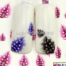 3 Colors Feather Design Water Transfer Nail Art Stickers Decals Decoration BLE#