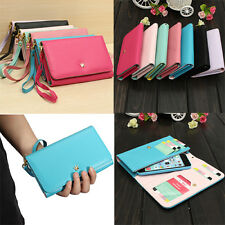 Crown Wristlet Flip Leather Wallet Case Cover Pouch Purse For HTC One M8 2014