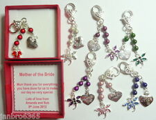 Personalised Wedding Thank you Gift Bag Charm with Magic Beads SP Heart Boxed